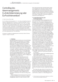Dokument Controlling des Ideenmanagements – Ex-Ante-Determinierung oder Ex-Post-Intervention?