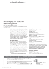 Dokument Herbsttagung des dib-Forum Ideenmanagement