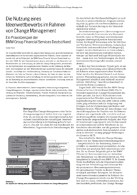 Dokument Die Nutzung eines Ideenwettbewerbs im Rahmen von Change Management – Ein Praxisbeispiel der BMW Group Financial Services Deutschland