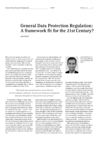 Dokument General Data Protection Regulation: A framework fit for the 21st Century?
