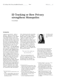 Dokument ID Tracking or How Privacy strengthens Monopolies