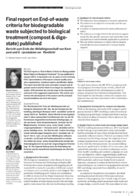 Dokument Final report on End-of-waste criteria for biodegradable waste subjected to biological treatment (compost & digestate) published