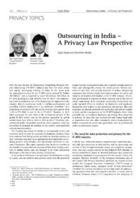 Dokument Outsourcing in India – A Privacy Law Perspective
