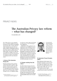 Dokument The Australian Privacy law Reform – what has changed?