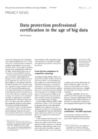 Dokument Data protection professional certification in the age of big data
