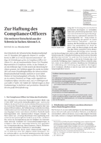 Dokument Zur Haftung des Compliance-Officers