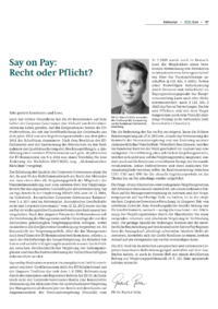 Dokument Say on Pay: Recht oder Pflicht?