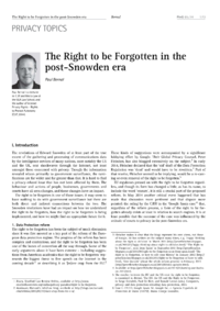 Dokument The Right to be Forgotten in the post-Snowden era