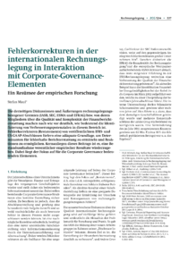 Dokument Fehlerkorrekturen in der internationalen Rechnungslegung in Interaktion mit Corporate-Governance-Elementen