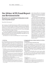 Dokument Der 2014er ACFE-Fraud-Report aus Revisionssicht
