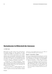 Dokument Rentenberater im Widerstreit der Interessen