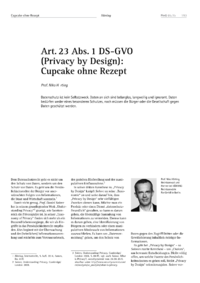 Dokument Art. 23 Abs. 1 DS-GVO (Privacy by Design): Cupcake ohne Rezept