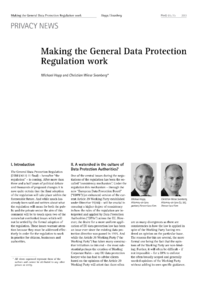 Dokument Making the General Data Protection Regulation work