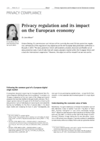 Dokument Privacy regulation and its impact on the European economy