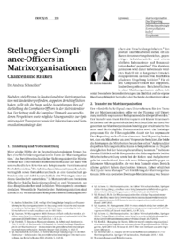 Dokument Stellung des Compliance-Officers in Matrixorganisationen
