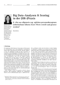 Dokument Big Data-Analysen & Scoring in der (HR-)Praxis