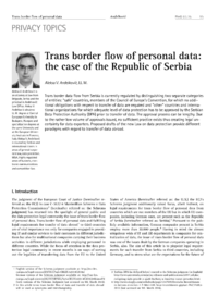 Dokument Trans border flow of personal data: the case of the Republic of Serbia