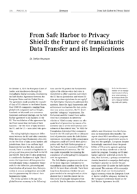 Dokument From Safe Harbor to Privacy Shield: the Future of transatlantic Data Transfer and its Implications
