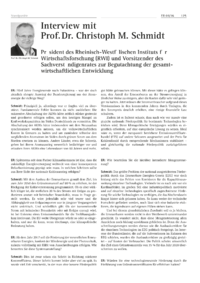 Dokument Interview mit Prof. Dr. Christoph M. Schmidt
