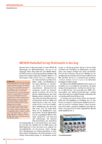 Dokument NB3800 MediaRail bringt Multimedia in den Zug