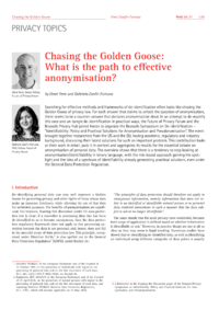 Dokument Chasing the Golden Goose: What is the path to effective anonymisation?