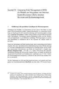 Dokument Enterprise Risk Management (ERM) als Modell zur Integration von Internen Kontrollsystemen (IKS), Interner Revision und Risikomanagement