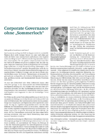 "Dokument Corporate Governance ohne ""Sommerloch"""