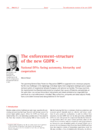 Dokument The enforcement-structure of the new GDPR – National DPAs facing autonomy, hierarchy and cooperation