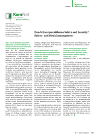 Dokument  KomNet    Zum Schwerpunktthema Safety and Security/Krisen- und Notfallmanagement