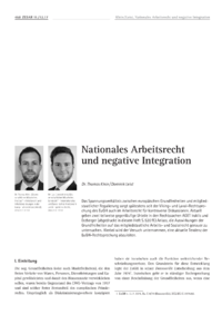 Dokument Nationales Arbeitsrecht und negative Integration