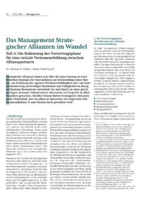 Dokument Das Management Strategischer Allianzen im Wandel – Teil A
