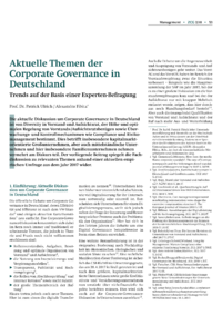 Dokument Aktuelle Themen der Corporate Governance in Deutschland