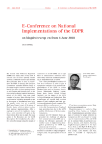 Dokument E-Conference on National Implementations of the GDPR