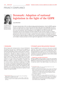 Dokument Denmark: Adaption of national legislation in the light of the GDPR