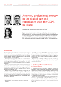 Dokument Attorney professional secrecy in the digital age and compliance with the GDPR in Brazil