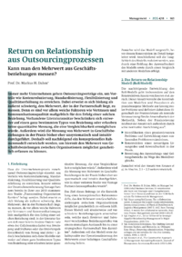 Dokument Return on Relationship aus Outsourcingprozessen