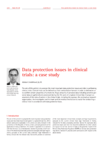 Dokument Data protection issues in clinical trials: a case study
