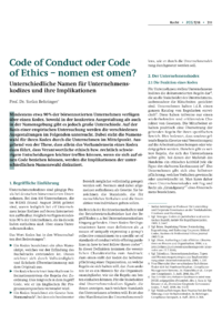 Dokument Code of Conduct oder Code of Ethics – nomen est omen?