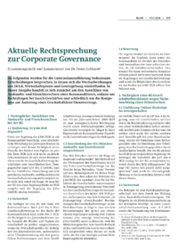 Dokument Aktuelle Rechtsprechung zur Corporate Governance