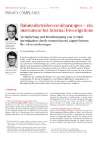Dokument Rahmenbetriebsvereinbarungen – ein Instrument bei Internal Investigations
