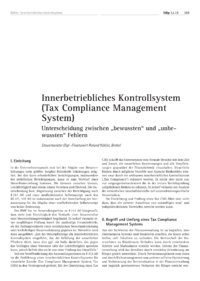 Dokument Innerbetriebliches Kontrollsystem (Tax Compliance Management System)