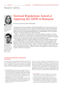 Dokument National Regulations Aimed at Applying the GDPR in Romania