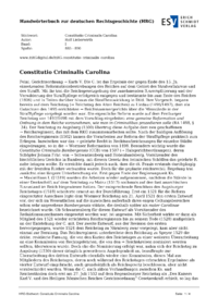 Artikel Constitutio Criminalis Carolina