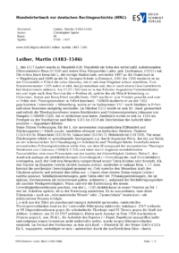 Artikel Luther, Martin (1483-1546)